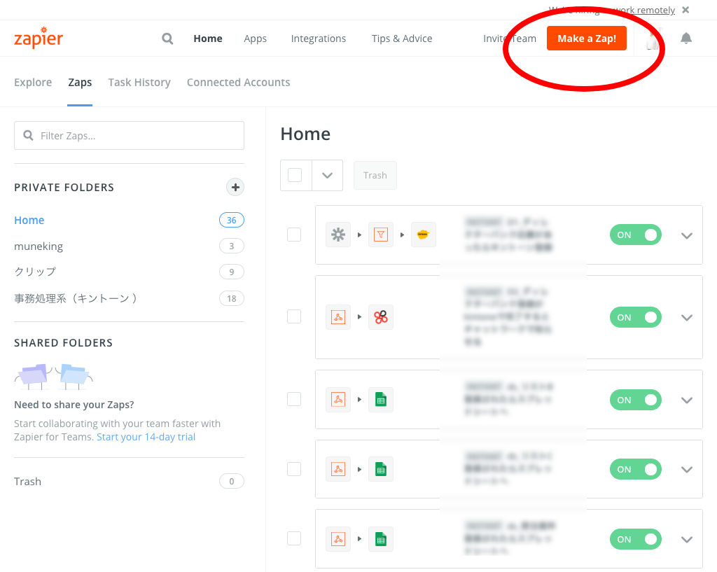 Dashboard Zapier (make a zaps)