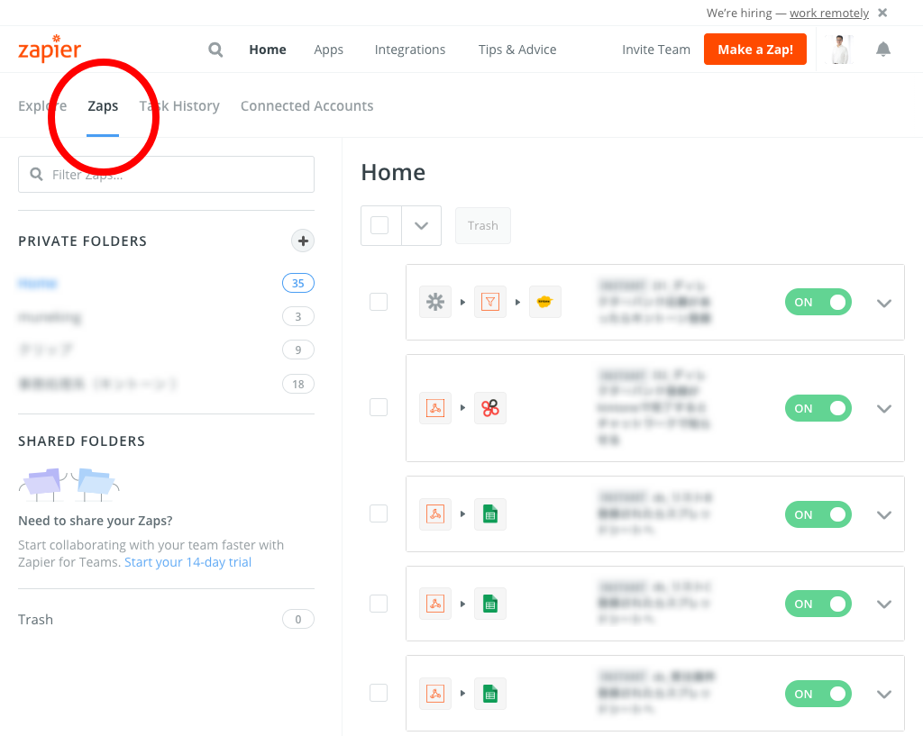 Dashboard Zapier1